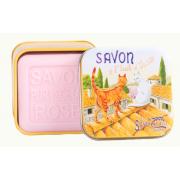 SAVON BOITE METAL ROSE CHAT SUR UN TOIT 100G